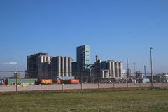 Chemical plant of Indorama in the Europoort harbor in the Port of Rotterdam in the Netherlands.  royalty free stock photo