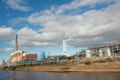 Chemical Plant Landscape. Chemical plant on the Manchester Ship Canal. Runcorn, Cheshire, England Royalty Free Stock Images