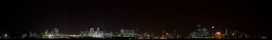 Chemical plant in night(Panoramic View 1) Stock Image