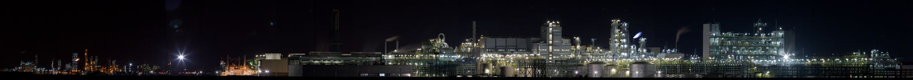 Chemical plant in night(Panoramic View 3). A colorful chemical plant in night with detail and highest resolution Royalty Free Stock Photos