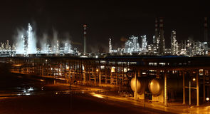 Chemical Plant at night. Petrochemical Plant at night with details stock photos