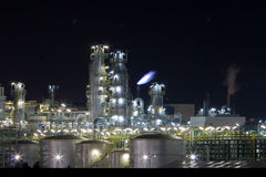 Chemical plant in night. A colorful chemical plant in night with detail. This pic is a part of the panoramic view of the plant (file ID:5964148 Royalty Free Stock Photography