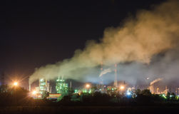 Chemical plant in night lights Stock Image