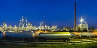 Chemical Plant Panorama At Night Stock Photo