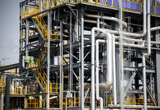 Chemical plant pipeline closeup Royalty Free Stock Photos