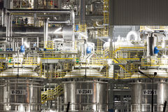 Chemical plant in Poland. Chemical plant at night, Wloclawek, Poland Stock Photo