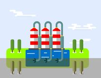 Chemical plant polluting. Сhemical plant pollute the atmosphere. Ecology icons. Ecology icons set. Ecology icons flat. Ecology icons illustration. Cartoon flat Royalty Free Stock Photos