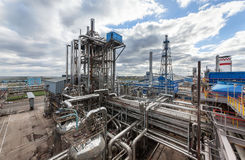 Chemical plant for production of ammonia and nitrogen fertilization on day time. Chemical plant for production of ammonia and nitrogen fertilization on day time royalty free stock image