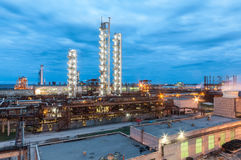 Chemical plant for production of ammonia and nitrogen fertilization on night time. Stock Photos
