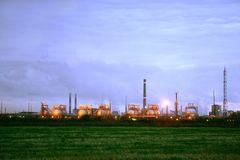 Chemical plant with smoking pipes Royalty Free Stock Photography