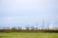 Chemical plant with smoking pipes Royalty Free Stock Image