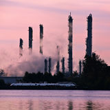 Chemical plant stacks silhouette Royalty Free Stock Photography