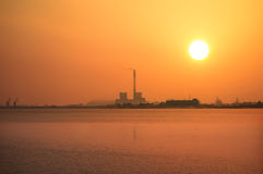 Chemical plant at sunset Stock Image