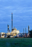 Chemical plant in twilight. View on illuminated operational chemical plant in twilight Royalty Free Stock Photography