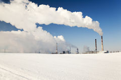 Chemical plant,  winter season. Plant for the production of chemical products in the winter season Royalty Free Stock Photos