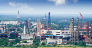 Chemical Plant workshops. Panorama of chemical plant with workshops manufacture summer blue sky Stock Photo
