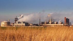 Chemical processing plant stock video footage