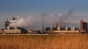 Chemical processing plant timelapse stock footage