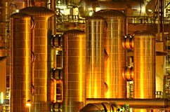 Chemical production facility at night. Intimate details of a chemical production facility at night Royalty Free Stock Images