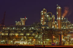 Chemical production facility at night. Intimate details of a chemical production facility at night Royalty Free Stock Photo