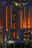 Chemical production facility at night Royalty Free Stock Images