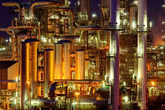 Chemical production facility at night Royalty Free Stock Photo