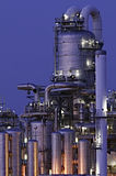 Chemical production facility at night. Intimate details of a chemical production facility at night Stock Image