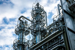 Chemical production of thermoplastic. Columns of butadiene cleaning and drying solvents Royalty Free Stock Photography