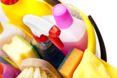 Chemical products in bucket Stock Photo