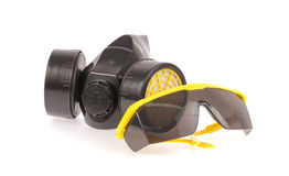 Chemical protective mask and Safety glasses Royalty Free Stock Photo
