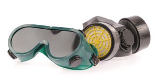 Chemical protective mask and Safety glasses Royalty Free Stock Images