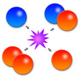 Chemical reaction. Chemical atoms interacting and reacting Stock Photos