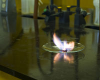 Chemical reaction. An exothermic chemical reaction producing heat and light Stock Photos