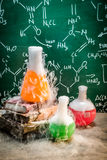 Chemical reaction on chemistry lessons Stock Photos