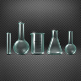 Chemical realistic test tubes vector set Royalty Free Stock Photos