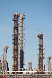 Chemical Refinery Plant Smokestack Tower Pipeline. Heavy industry Royalty Free Stock Photo