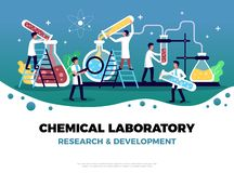 Chemical Research Laboratory Composition. Laboratory background composition with place for editable text and flat symbols human characters and test tubes vector royalty free illustration