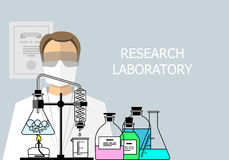 Chemical Research Laboratory. Flat design Royalty Free Stock Image