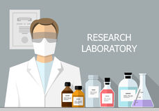 Chemical Research Laboratory. Flat design Royalty Free Stock Images