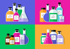 Chemical Research Laboratory. Flat design. Vector set - Chemical Research Laboratory. Flat design The test tube, beaker, flask Royalty Free Stock Photos
