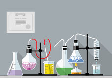Chemical Research Laboratory. Flat design Royalty Free Stock Photo