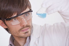 Chemical researcher with flask Stock Photo