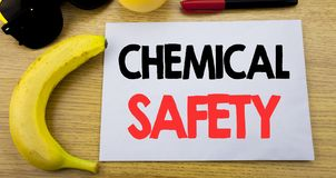 Chemical Safety. Business concept for Hazard Health At Work written on sticky note empty paper, wooden background with copy space,. Chemical Safety. Business Royalty Free Stock Photo