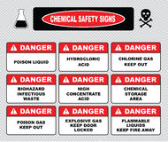 Chemical safety signs. (caustic hazard, toxcid chemicals, battery acid, chemical spill, inhalation hazard, vapors toxcid, irritant avoid skin contact, corrosive Stock Image