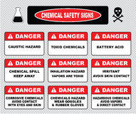 Chemical safety signs, various danger sign. (caustic hazard, toxcid chemicals, battery acid, chemical spill, inhalation hazard, irritant avoid skin contact Stock Image