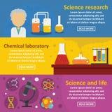 Chemical science banner horizontal set, flat style. Chemical science banner horizontal concept set. Flat illustration of 3 chemical science vector banner Stock Image