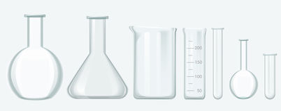 Chemical Science Equipment set. Laboratory glass equipment vector illustration. stock illustration