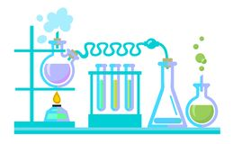 Chemical science lab equipment. Test tubes, flasks, spiritlam. Vectot. Chemical science lab equipment. Test tubes, flasks, spiritlam. Different shapes isolated stock illustration