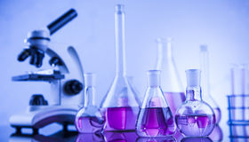 Chemical,science and laboratory glassware background Royalty Free Stock Image