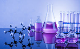 Chemical,science and laboratory glassware background Stock Photos